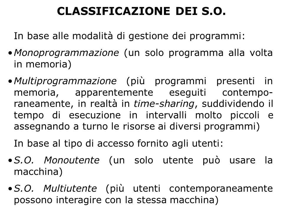 CLASSIFICAZIONE DEI S.O. In base alle modalità di gestione dei programmi: Monoprogrammazione (un solo programma alla volta in memoria) Multiprogrammaz