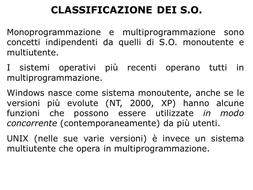 CLASSIFICAZIONE DEI S.O. Monoprogrammazione e multiprogrammazione sono concetti indipendenti da quelli di S.O. monoutente e multiutente. I sistemi ope
