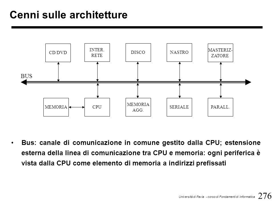 307 Università di Pavia - corso di Fondamenti di Informatica Sistemi operativi per sistemi concorrenti Il sistema operativo si prende carico di assegnare le diverse CPU a processori diversi nonché di gestire le risorse in comune tra le varie CPU (memoria condivisa, bus, periferiche) A sua volta il sistema operativo può essere eseguito contemporaneamente da più CPU oppure da una sola (master) Nell'ultimo caso, le CPU hanno compiti differenti