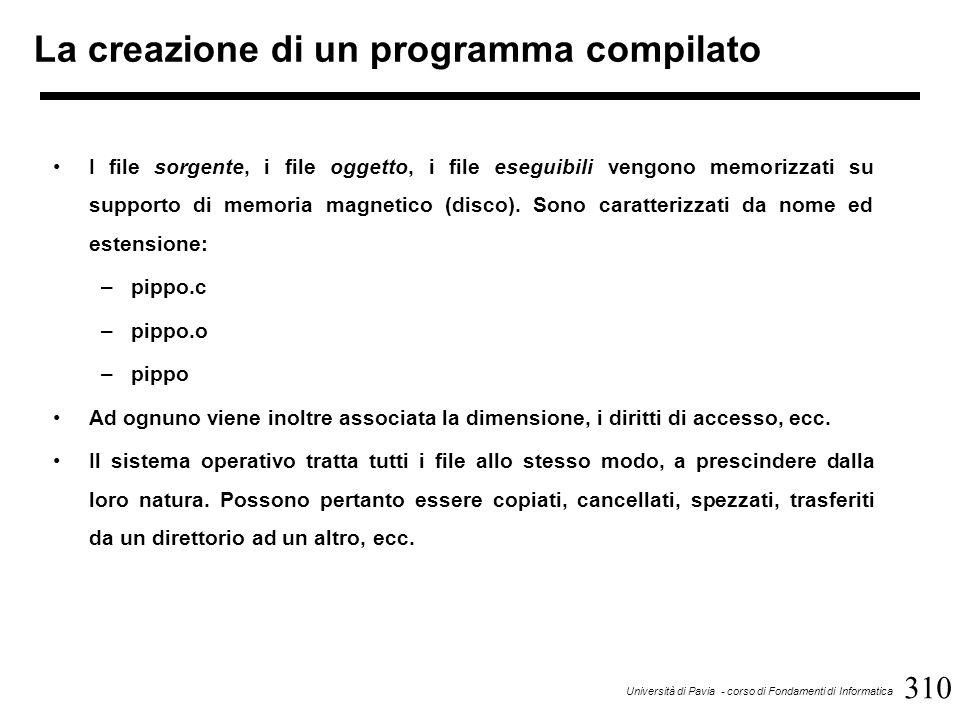 310 Università di Pavia - corso di Fondamenti di Informatica La creazione di un programma compilato I file sorgente, i file oggetto, i file eseguibili vengono memorizzati su supporto di memoria magnetico (disco).