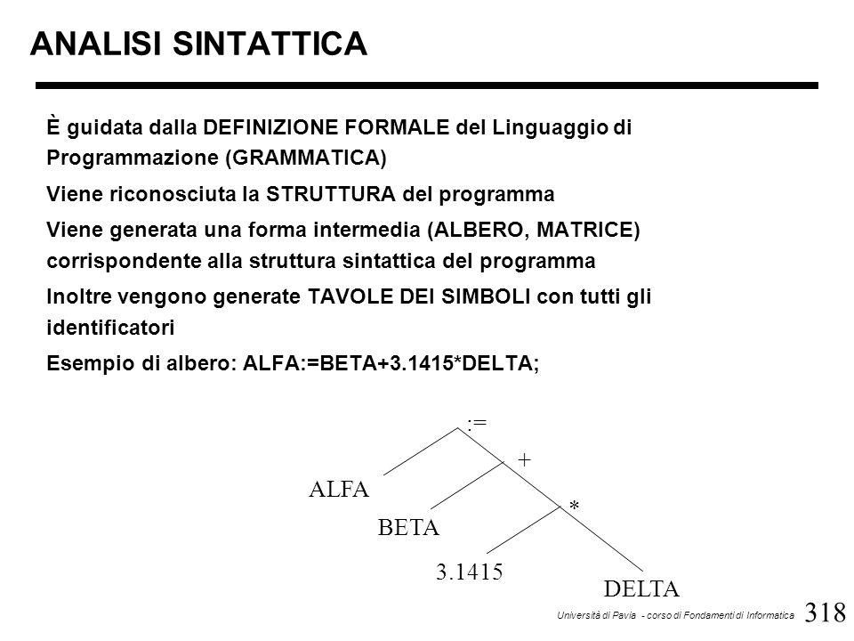 318 Università di Pavia - corso di Fondamenti di Informatica ANALISI SINTATTICA È guidata dalla DEFINIZIONE FORMALE del Linguaggio di Programmazione (GRAMMATICA) Viene riconosciuta la STRUTTURA del programma Viene generata una forma intermedia (ALBERO, MATRICE) corrispondente alla struttura sintattica del programma Inoltre vengono generate TAVOLE DEI SIMBOLI con tutti gli identificatori Esempio di albero: ALFA:=BETA+3.1415*DELTA; := ALFA BETA + * 3.1415 DELTA