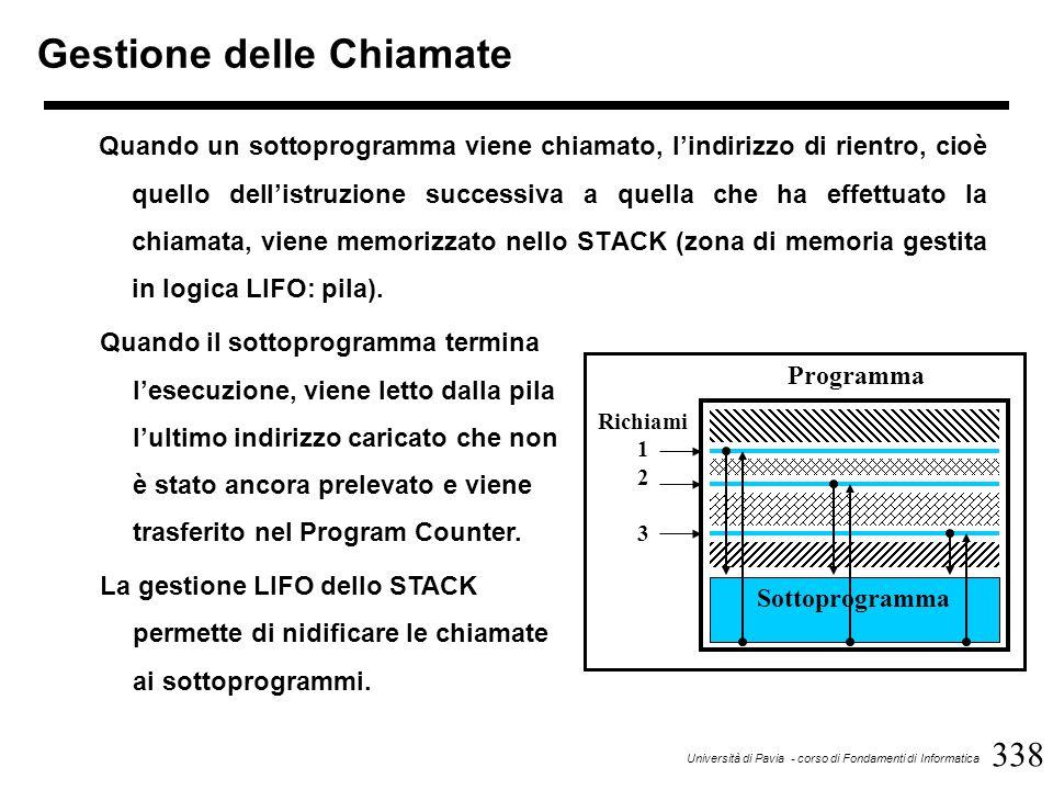 338 Università di Pavia - corso di Fondamenti di Informatica Gestione delle Chiamate Quando un sottoprogramma viene chiamato, l'indirizzo di rientro, cioè quello dell'istruzione successiva a quella che ha effettuato la chiamata, viene memorizzato nello STACK (zona di memoria gestita in logica LIFO: pila).