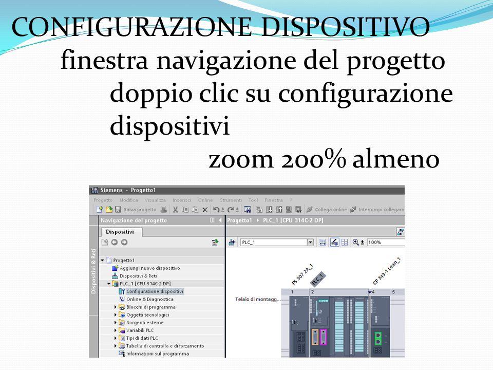 CONFIGURAZIONE DISPOSITIVO finestra navigazione del progetto doppio clic su configurazione dispositivi zoom 200% almeno