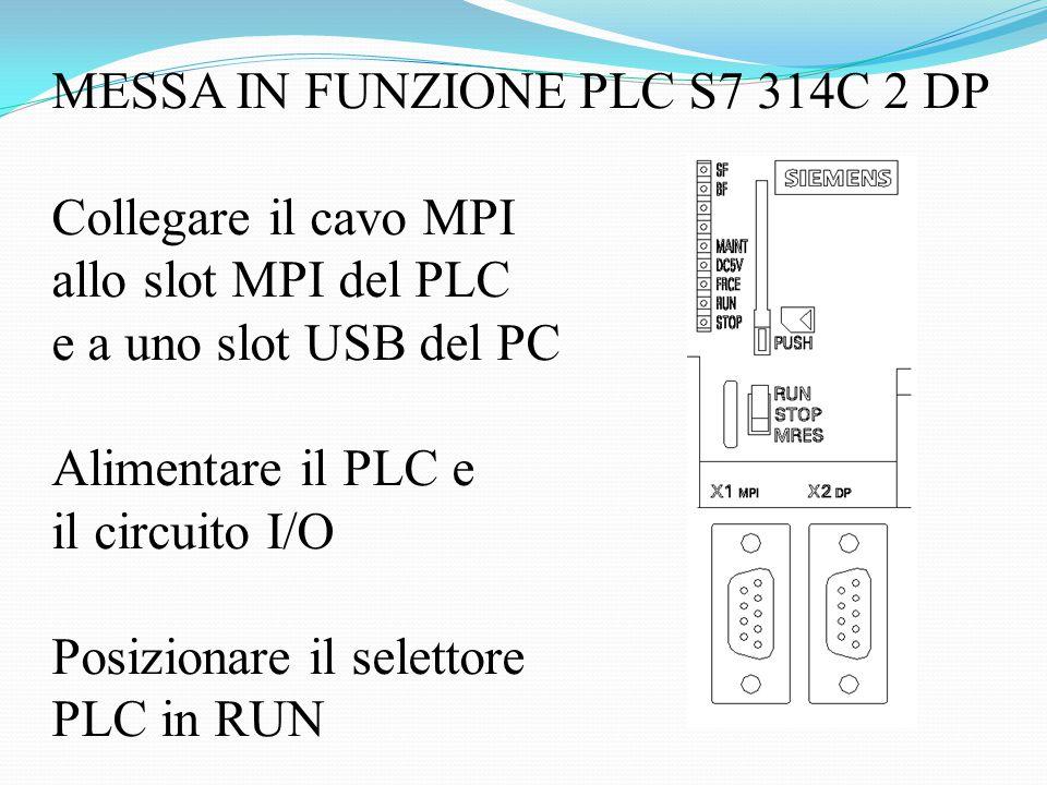 MESSA IN FUNZIONE PLC S7 314C 2 DP Collegare il cavo MPI allo slot MPI del PLC e a uno slot USB del PC Alimentare il PLC e il circuito I/O Posizionare