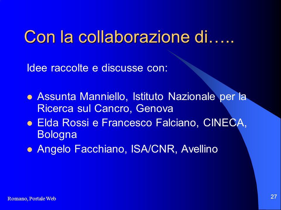 Romano, Portale Web 27 Con la collaborazione di…..
