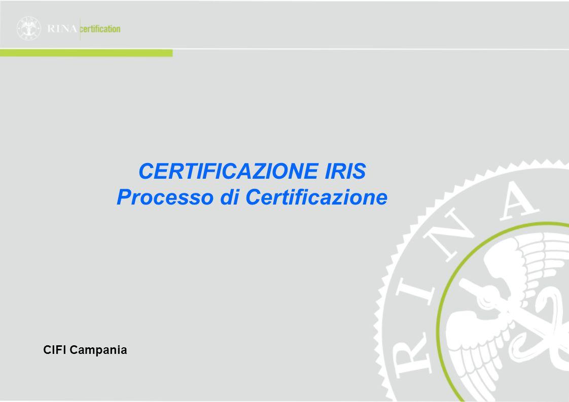 CERTIFICAZIONE IRIS Processo di Certificazione CIFI Campania
