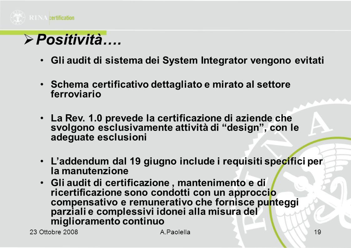 23 Ottobre 2008A.Paolella19  Positività….
