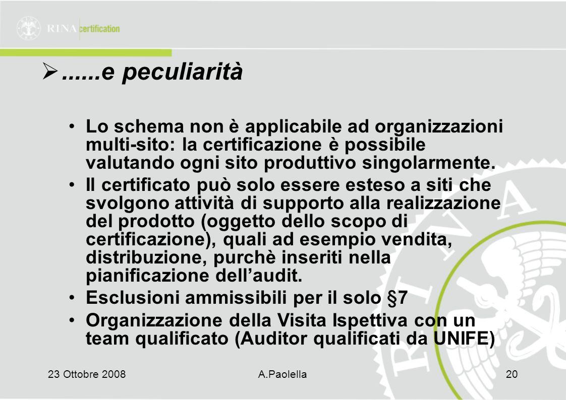 23 Ottobre 2008A.Paolella20 ......e peculiarità Lo schema non è applicabile ad organizzazioni multi-sito: la certificazione è possibile valutando ogni sito produttivo singolarmente.