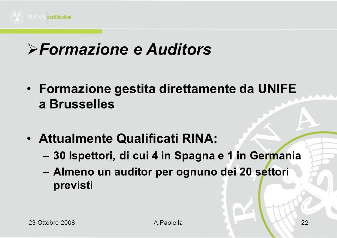 23 Ottobre 2008A.Paolella22  Formazione e Auditors Formazione gestita direttamente da UNIFE a Brusselles Attualmente Qualificati RINA: –30 Ispettori, di cui 4 in Spagna e 1 in Germania –Almeno un auditor per ognuno dei 20 settori previsti