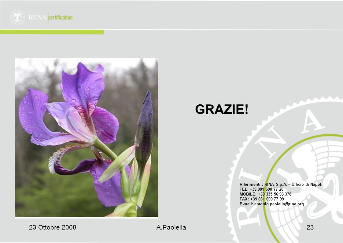 23 Ottobre 2008A.Paolella23 GRAZIE.Riferimenti : RINA S.p.A.