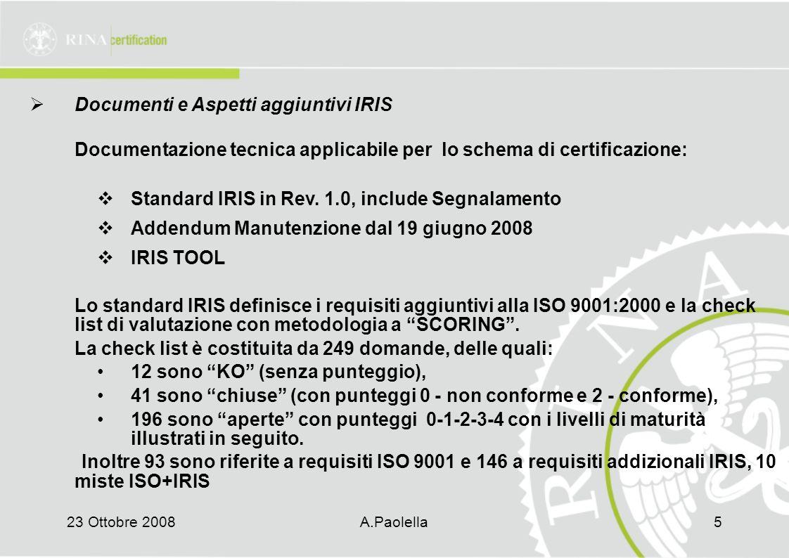 23 Ottobre 2008A.Paolella5  Documenti e Aspetti aggiuntivi IRIS Documentazione tecnica applicabile per lo schema di certificazione:  Standard IRIS in Rev.