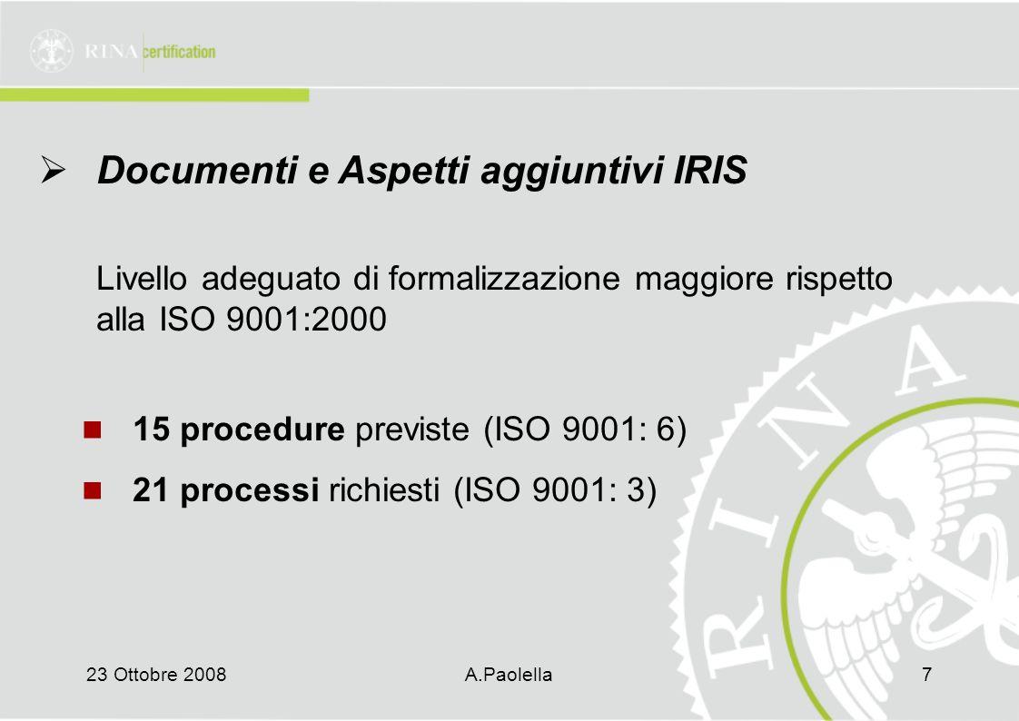 23 Ottobre 2008A.Paolella7  Documenti e Aspetti aggiuntivi IRIS Livello adeguato di formalizzazione maggiore rispetto alla ISO 9001:2000 15 procedure previste (ISO 9001: 6) 21 processi richiesti (ISO 9001: 3)
