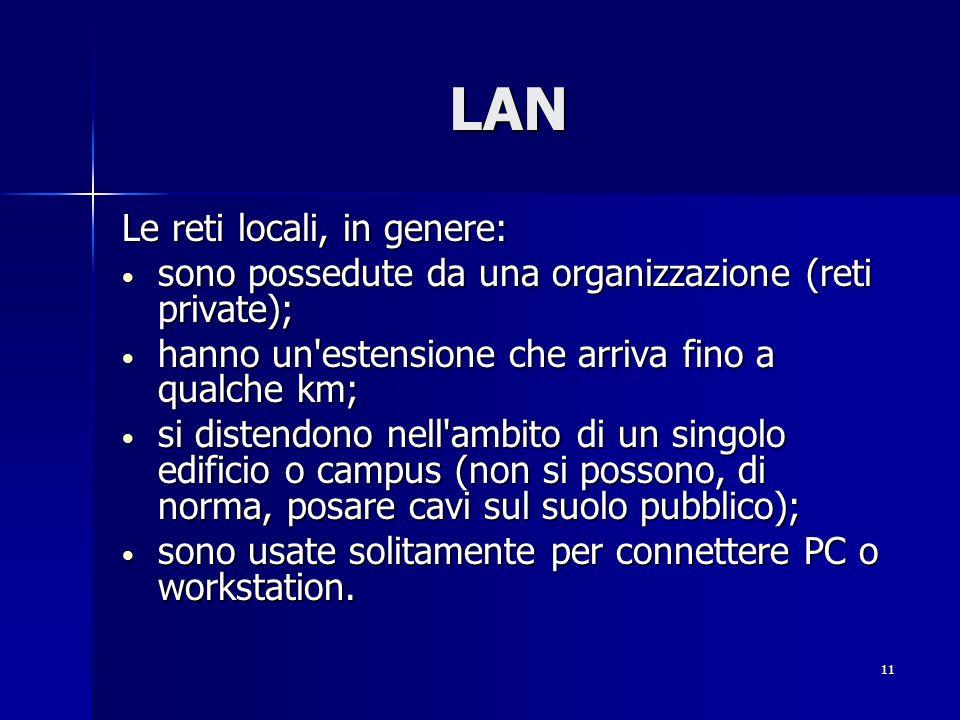 11 LAN Le reti locali, in genere: sono possedute da una organizzazione (reti private); sono possedute da una organizzazione (reti private); hanno un estensione che arriva fino a qualche km; hanno un estensione che arriva fino a qualche km; si distendono nell ambito di un singolo edificio o campus (non si possono, di norma, posare cavi sul suolo pubblico); si distendono nell ambito di un singolo edificio o campus (non si possono, di norma, posare cavi sul suolo pubblico); sono usate solitamente per connettere PC o workstation.
