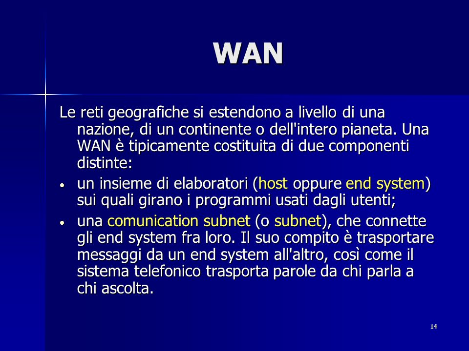 14 WAN Le reti geografiche si estendono a livello di una nazione, di un continente o dell intero pianeta.