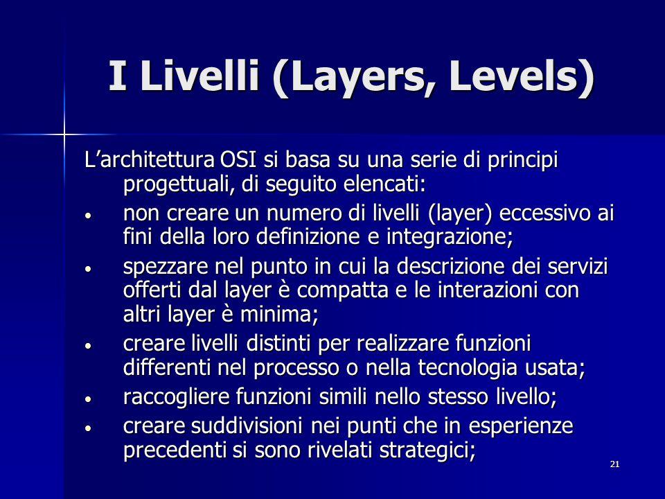 21 I Livelli (Layers, Levels) L'architettura OSI si basa su una serie di principi progettuali, di seguito elencati: non creare un numero di livelli (layer) eccessivo ai fini della loro definizione e integrazione; non creare un numero di livelli (layer) eccessivo ai fini della loro definizione e integrazione; spezzare nel punto in cui la descrizione dei servizi offerti dal layer è compatta e le interazioni con altri layer è minima; spezzare nel punto in cui la descrizione dei servizi offerti dal layer è compatta e le interazioni con altri layer è minima; creare livelli distinti per realizzare funzioni differenti nel processo o nella tecnologia usata; creare livelli distinti per realizzare funzioni differenti nel processo o nella tecnologia usata; raccogliere funzioni simili nello stesso livello; raccogliere funzioni simili nello stesso livello; creare suddivisioni nei punti che in esperienze precedenti si sono rivelati strategici; creare suddivisioni nei punti che in esperienze precedenti si sono rivelati strategici;