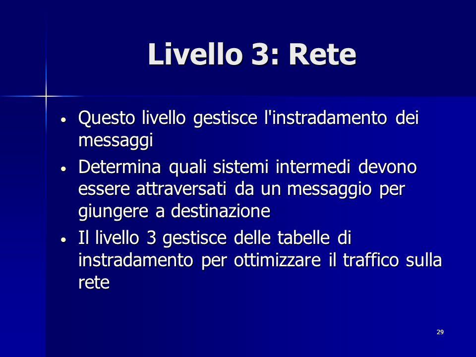 29 Livello 3: Rete Questo livello gestisce l instradamento dei messaggi Questo livello gestisce l instradamento dei messaggi Determina quali sistemi intermedi devono essere attraversati da un messaggio per giungere a destinazione Determina quali sistemi intermedi devono essere attraversati da un messaggio per giungere a destinazione Il livello 3 gestisce delle tabelle di instradamento per ottimizzare il traffico sulla rete Il livello 3 gestisce delle tabelle di instradamento per ottimizzare il traffico sulla rete