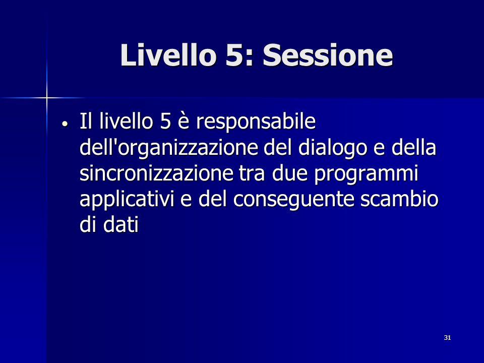 31 Livello 5: Sessione Il livello 5 è responsabile dell organizzazione del dialogo e della sincronizzazione tra due programmi applicativi e del conseguente scambio di dati Il livello 5 è responsabile dell organizzazione del dialogo e della sincronizzazione tra due programmi applicativi e del conseguente scambio di dati