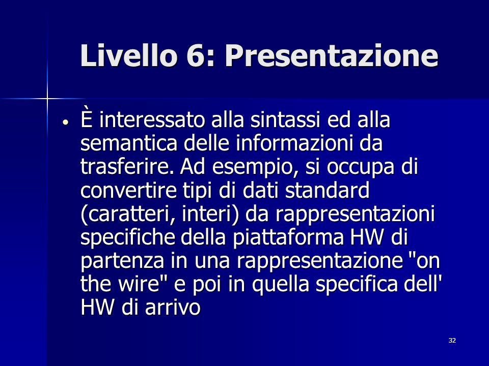 32 Livello 6: Presentazione È interessato alla sintassi ed alla semantica delle informazioni da trasferire.