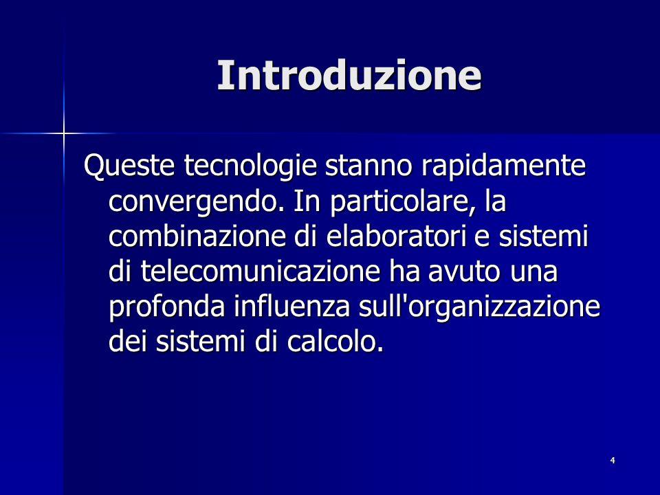 4 Introduzione Queste tecnologie stanno rapidamente convergendo.