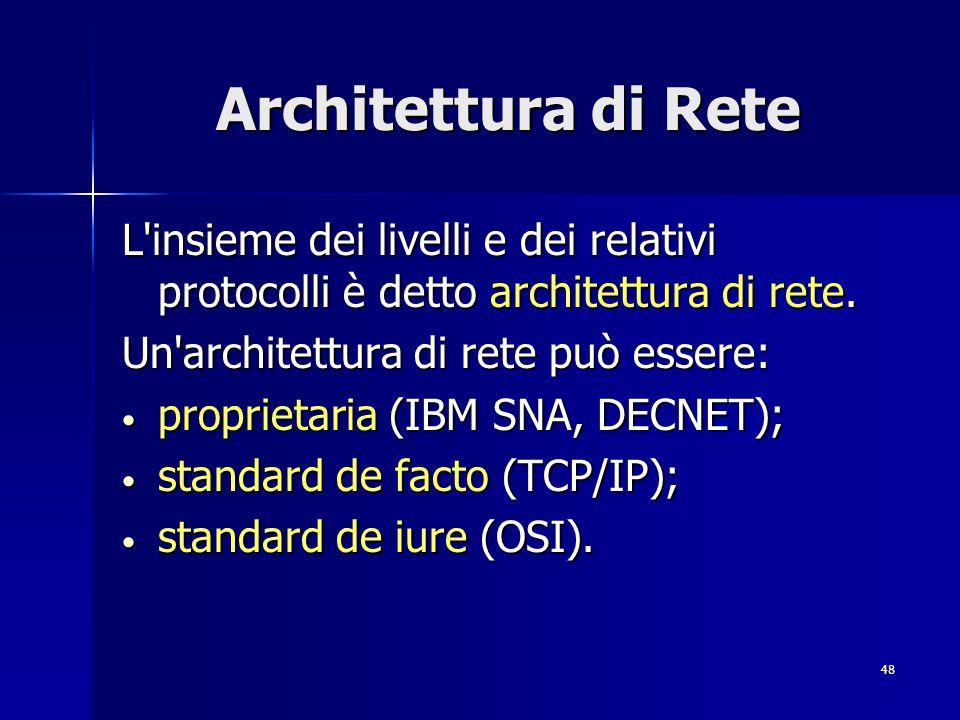 48 Architettura di Rete L insieme dei livelli e dei relativi protocolli è detto architettura di rete.