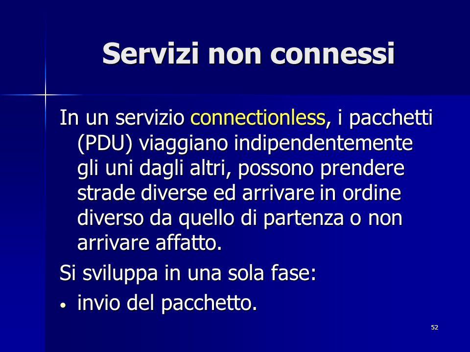 52 Servizi non connessi In un servizio connectionless, i pacchetti (PDU) viaggiano indipendentemente gli uni dagli altri, possono prendere strade diverse ed arrivare in ordine diverso da quello di partenza o non arrivare affatto.