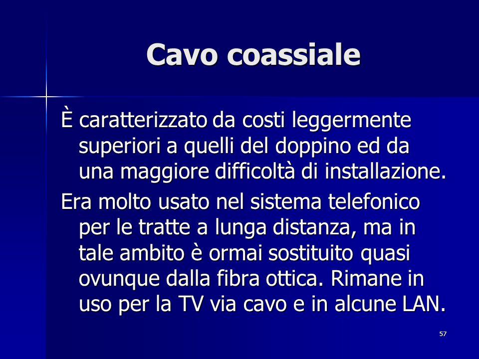 57 Cavo coassiale È caratterizzato da costi leggermente superiori a quelli del doppino ed da una maggiore difficoltà di installazione.