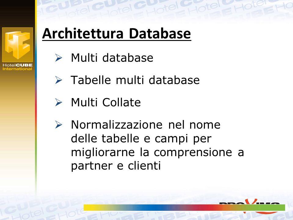  Multi database  Tabelle multi database  Multi Collate  Normalizzazione nel nome delle tabelle e campi per migliorarne la comprensione a partner e clienti Architettura Database