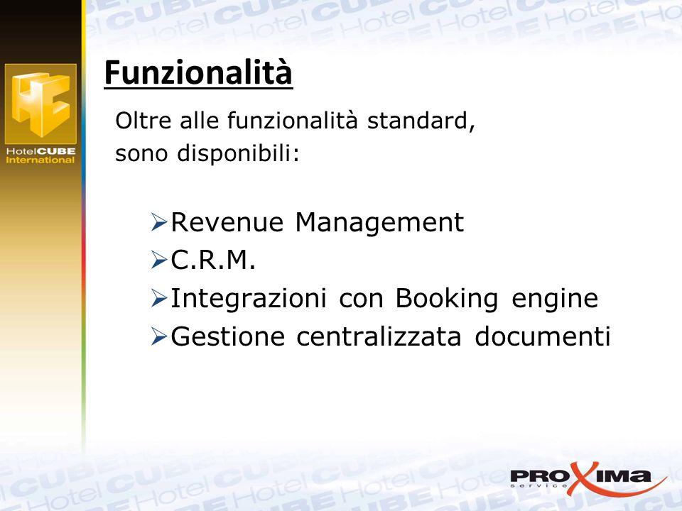 Oltre alle funzionalità standard, sono disponibili:  Revenue Management  C.R.M.