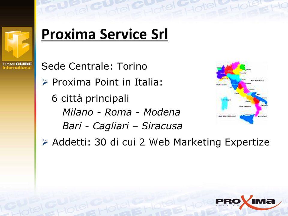 Proxima Service Srl Sede Centrale: Torino  Proxima Point in Italia: 6 città principali Milano - Roma - Modena Bari - Cagliari – Siracusa  Addetti: 30 di cui 2 Web Marketing Expertize