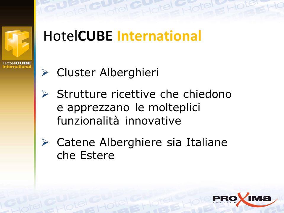  Cluster Alberghieri  Strutture ricettive che chiedono e apprezzano le molteplici funzionalità innovative  Catene Alberghiere sia Italiane che Estere HotelCUBE International