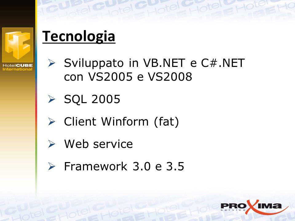  Sviluppato in VB.NET e C#.NET con VS2005 e VS2008  SQL 2005  Client Winform (fat)  Web service  Framework 3.0 e 3.5 Tecnologia
