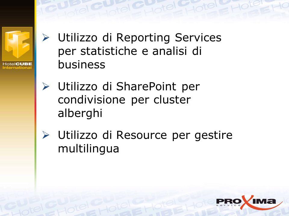  Utilizzo di Reporting Services per statistiche e analisi di business  Utilizzo di SharePoint per condivisione per cluster alberghi  Utilizzo di Resource per gestire multilingua