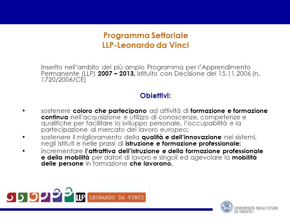 Programma Settoriale LLP-Leonardo da Vinci Inserito nell'ambito del più ampio Programma per l'Apprendimento Permanente (LLP) 2007 – 2013, istituito con Decisione del 15.11.2006 (n.