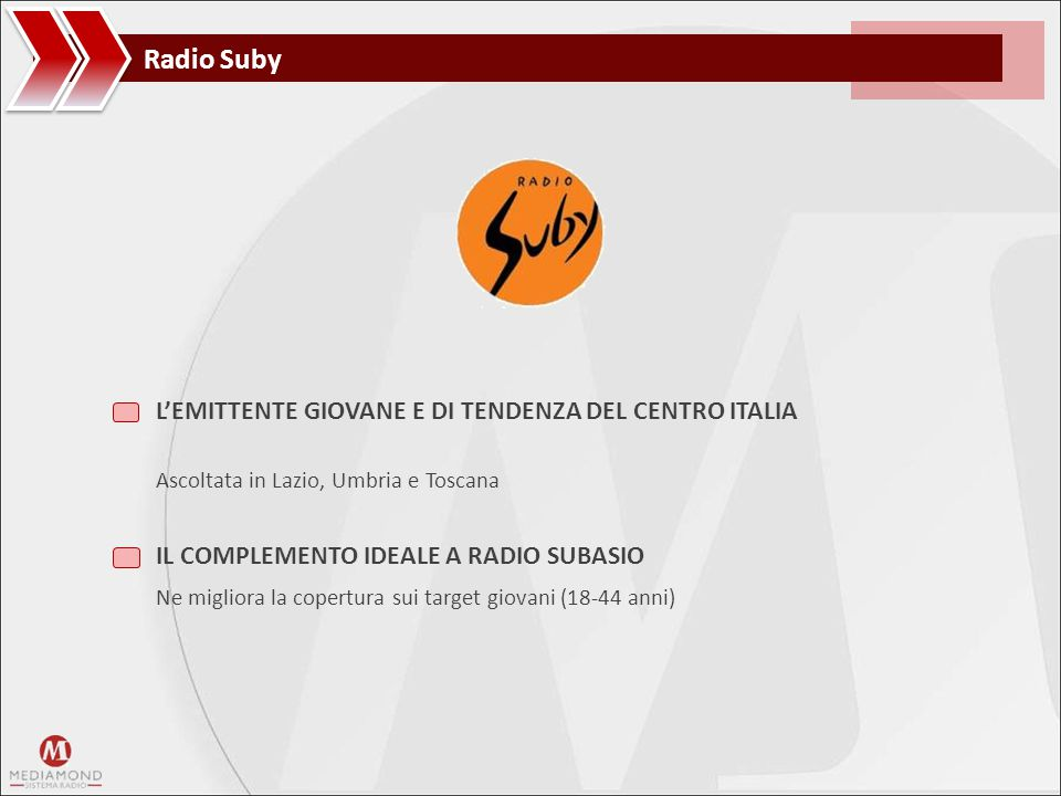 Radio Suby LA COPERTURA Radio Suby è il complemento ideale a Radio Subasio in alcune delle regioni più popolose del Centro Italia RADIO SUBASIO RADIO SUBASIO + RADIO SUBY