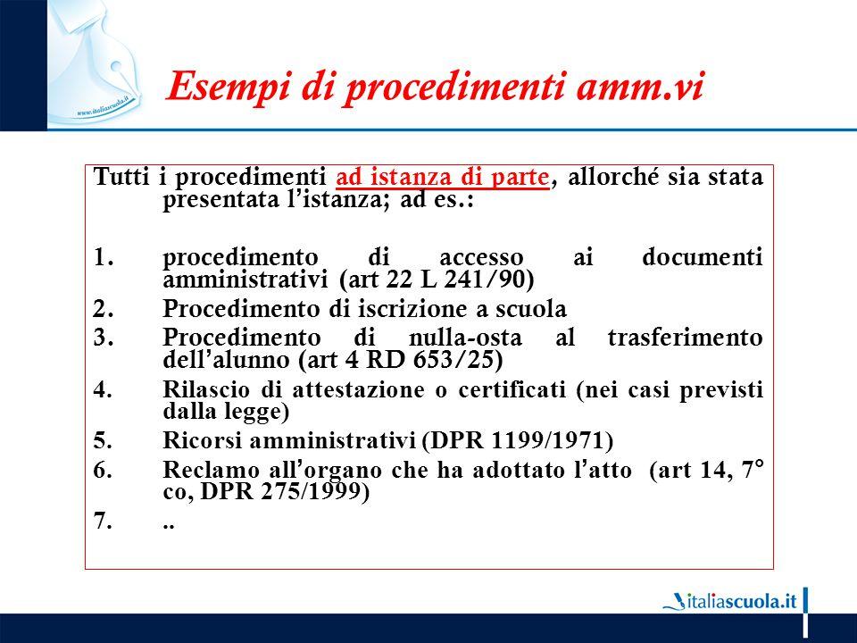Esempi di procedimenti amm.vi Tutti i procedimenti ad istanza di parte, allorché sia stata presentata l'istanza; ad es.: 1.procedimento di accesso ai