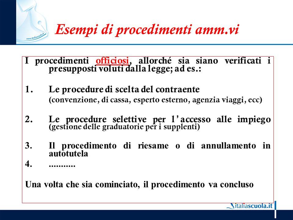 Esempi di procedimenti amm.vi I procedimenti officiosi, allorché sia siano verificati i presupposti voluti dalla legge; ad es.: 1.Le procedure di scel