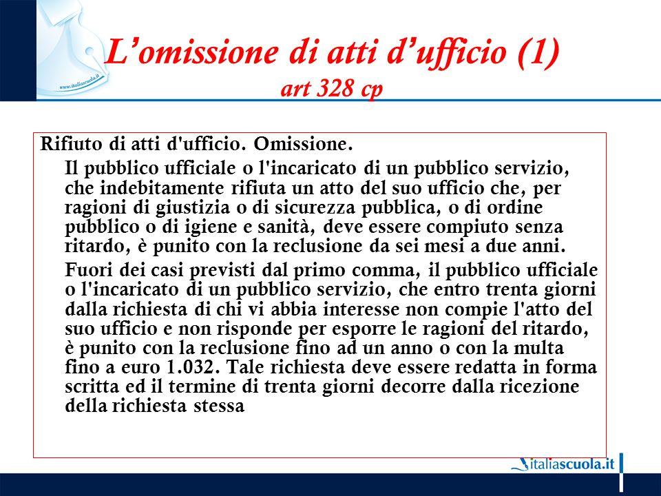L'omissione di atti d'ufficio (1) art 328 cp Rifiuto di atti d'ufficio. Omissione. Il pubblico ufficiale o l'incaricato di un pubblico servizio, che i
