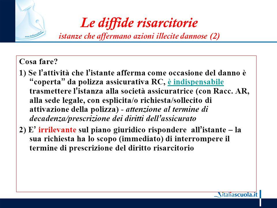 Le diffide risarcitorie istanze che affermano azioni illecite dannose (2) Cosa fare? 1) Se l'attività che l'istante afferma come occasione del danno è