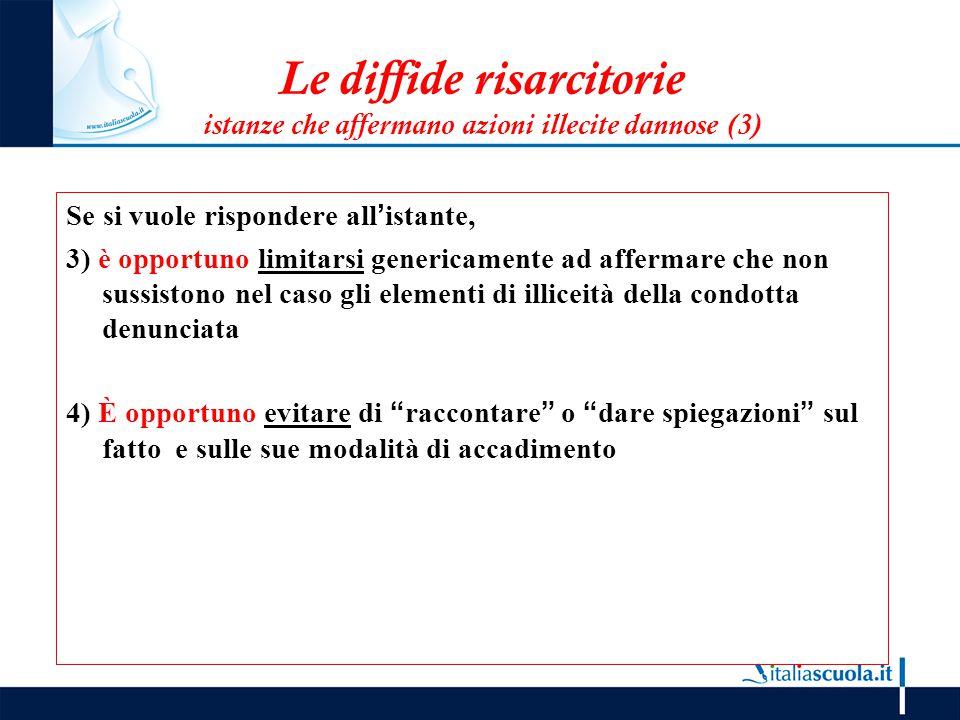 Le diffide risarcitorie istanze che affermano azioni illecite dannose (3) Se si vuole rispondere all'istante, 3) è opportuno limitarsi genericamente a