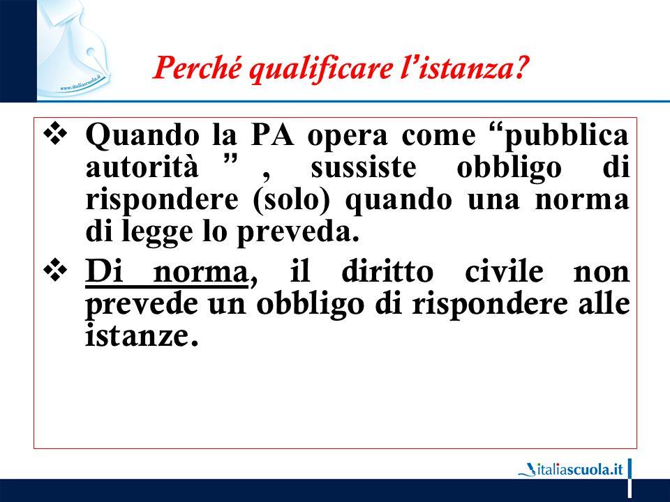 """Perché qualificare l'istanza?  Quando la PA opera come """"pubblica autorità"""", sussiste obbligo di rispondere (solo) quando una norma di legge lo preved"""