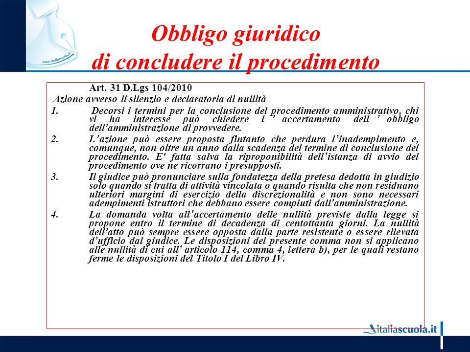 Obbligo giuridico di concludere il procedimento Art. 31 D.Lgs 104/2010 Azione avverso il silenzio e declaratoria di nullità 1. Decorsi i termini per l