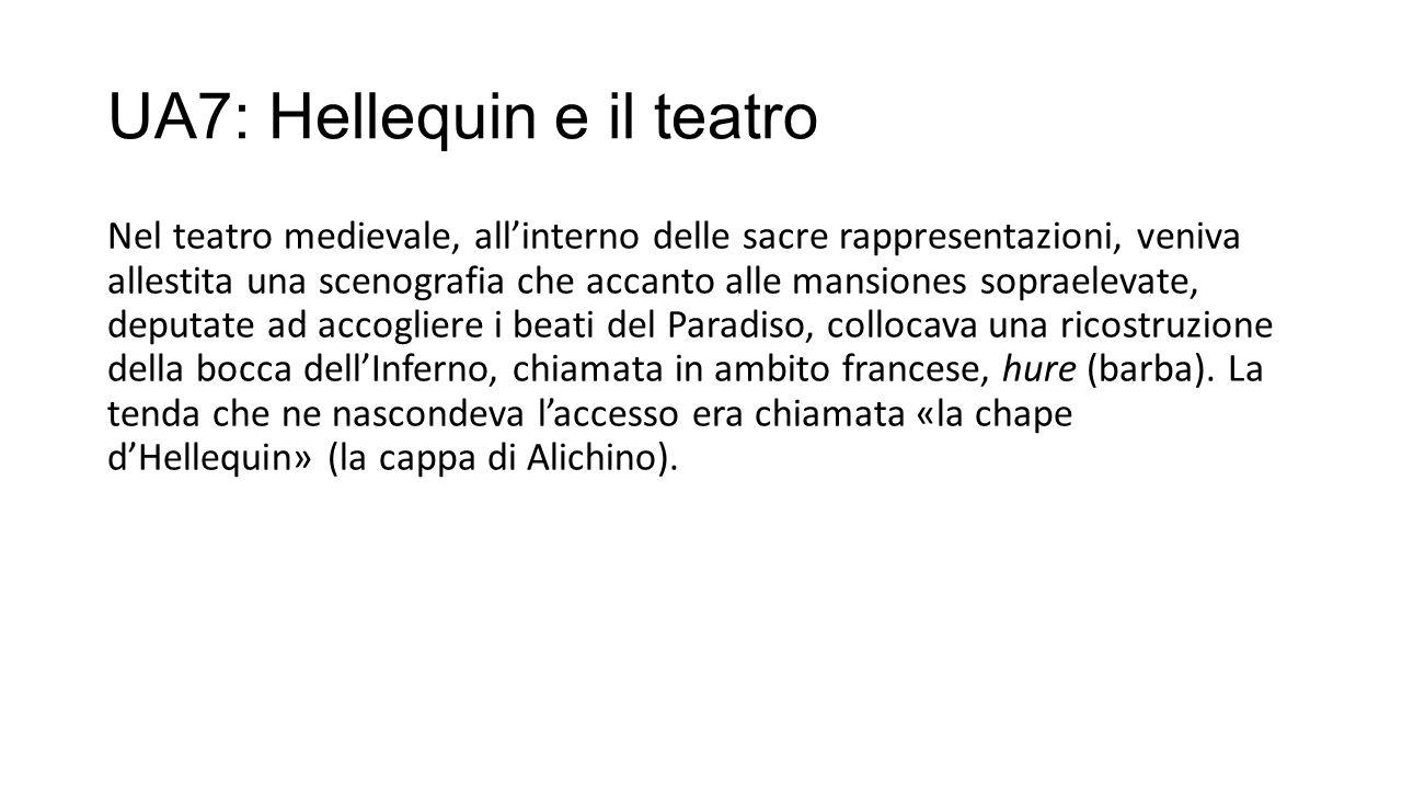 UA7: Hellequin e il teatro Nel teatro medievale, all'interno delle sacre rappresentazioni, veniva allestita una scenografia che accanto alle mansiones sopraelevate, deputate ad accogliere i beati del Paradiso, collocava una ricostruzione della bocca dell'Inferno, chiamata in ambito francese, hure (barba).