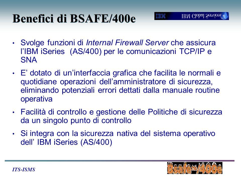 ITS-ISMS Benefici di BSAFE/400e Svolge funzioni di Internal Firewall Server che assicura l'IBM iSeries (AS/400) per le comunicazioni TCP/IP e SNA E' dotato di un'interfaccia grafica che facilita le normali e quotidiane operazioni dell'amministratore di sicurezza, eliminando potenziali errori dettati dalla manuale routine operativa Facilità di controllo e gestione delle Politiche di sicurezza da un singolo punto di controllo Si integra con la sicurezza nativa del sistema operativo dell' IBM iSeries (AS/400)