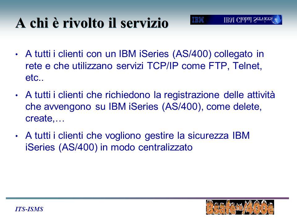 ITS-ISMS A chi è rivolto il servizio A tutti i clienti con un IBM iSeries (AS/400) collegato in rete e che utilizzano servizi TCP/IP come FTP, Telnet, etc..