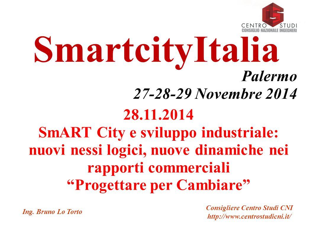 SmartcityItalia Palermo 27-28-29 Novembre 2014 28.11.2014 SmART City e sviluppo industriale: nuovi nessi logici, nuove dinamiche nei rapporti commerciali Progettare per Cambiare Ing.