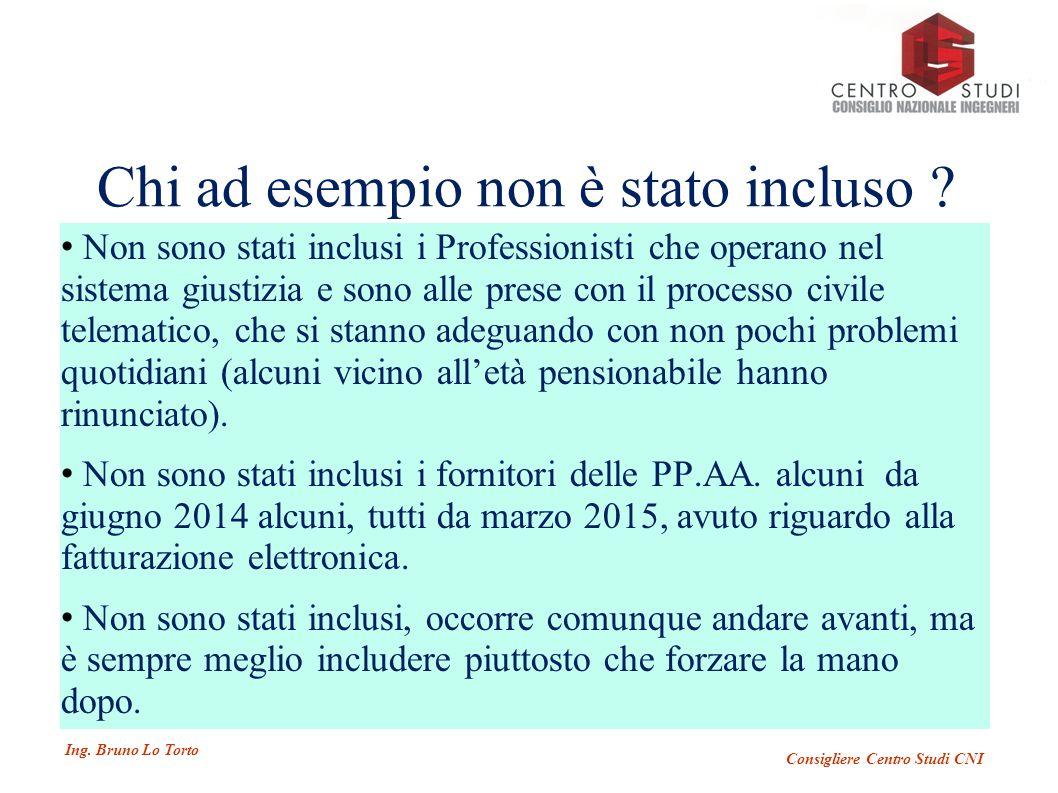 Ing. Bruno Lo Torto Consigliere Centro Studi CNI Chi ad esempio non è stato incluso .