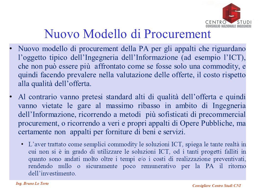 Ing. Bruno Lo Torto Consigliere Centro Studi CNI Nuovo Modello di Procurement Nuovo modello di procurement della PA per gli appalti che riguardano l'o