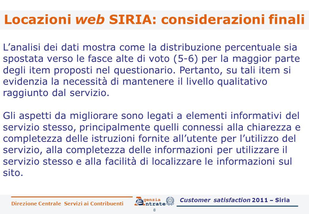 Locazioni web SIRIA: considerazioni finali 8 L'analisi dei dati mostra come la distribuzione percentuale sia spostata verso le fasce alte di voto (5-6) per la maggior parte degli item proposti nel questionario.
