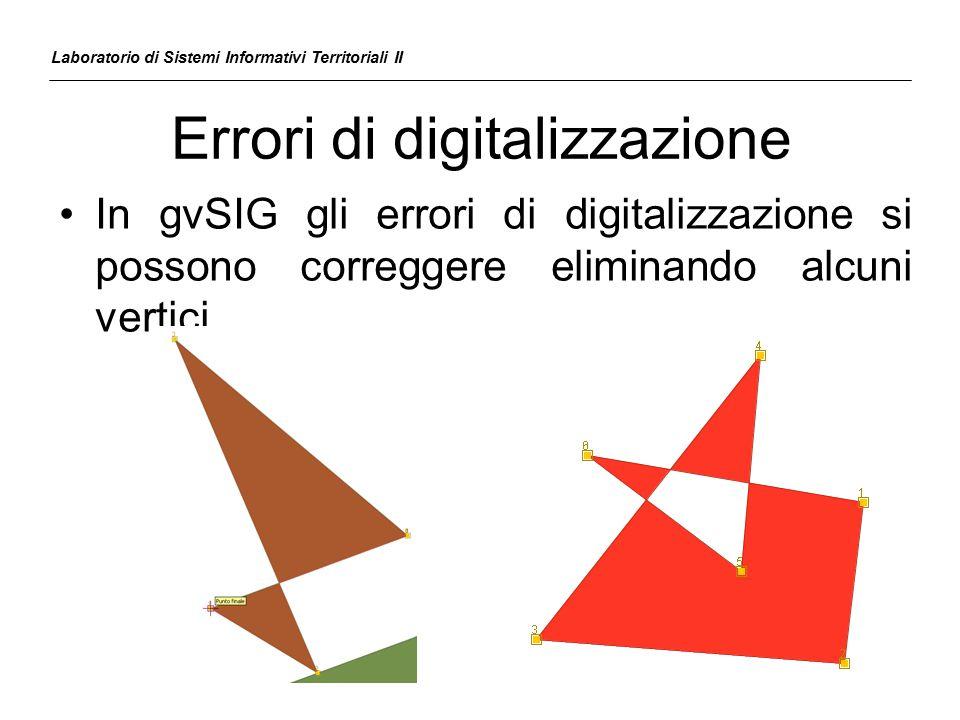 Errori di digitalizzazione In gvSIG gli errori di digitalizzazione si possono correggere eliminando alcuni vertici Laboratorio di Sistemi Informativi