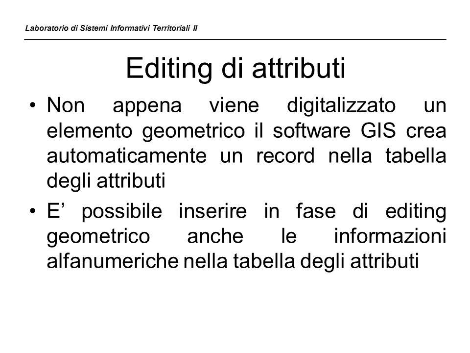 Editing di attributi Laboratorio di Sistemi Informativi Territoriali II Non appena viene digitalizzato un elemento geometrico il software GIS crea aut